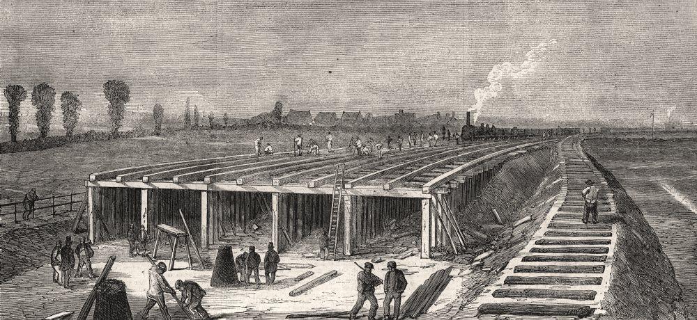 Associate Product London drainage: Constructing concrete embankment across Plaistow Marshes, 1861