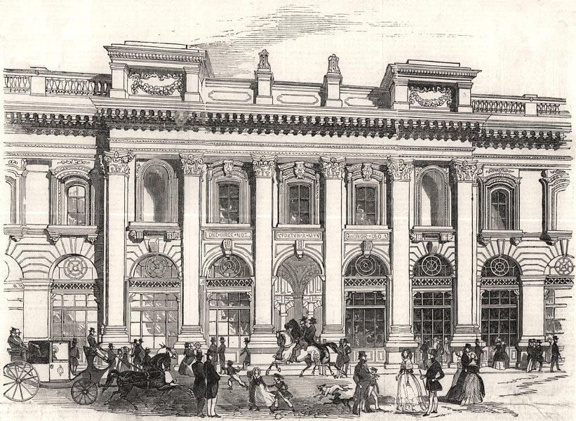 Associate Product The new Royal Exchange - the north entrance. London, antique print, 1844