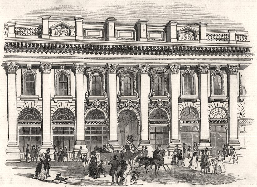 The new Royal Exchange - the South entrance. London, antique print, 1844