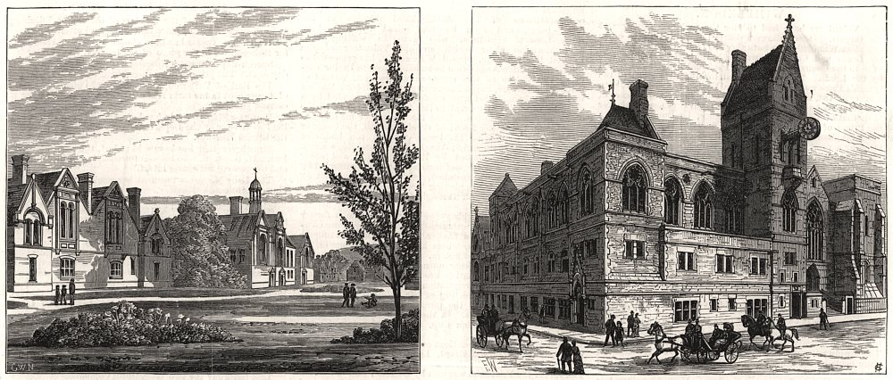 Associate Product Home for orphan boys at Swanley. Dover Town Hall. Kent, antique print, 1883