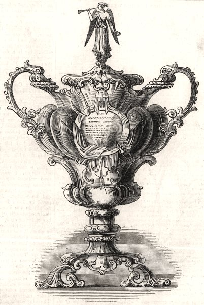 Associate Product Silver vase presented to Sir R. Sale. Decorative, antique print, 1845