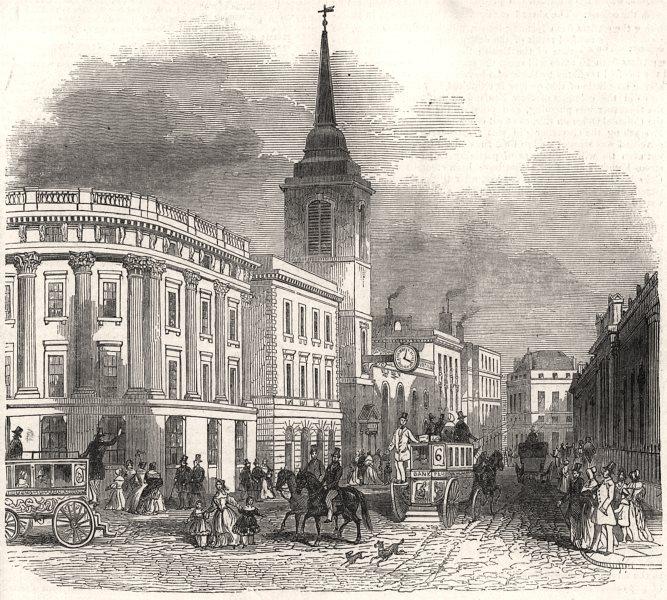 Associate Product Metropolitan improvements - Lothbury. London, antique print, 1845
