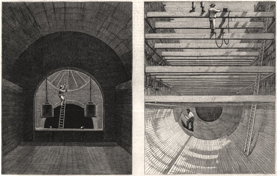 Associate Product London drainage: Penstock chamber, Old Ford. Southern high-level sewer, 1861
