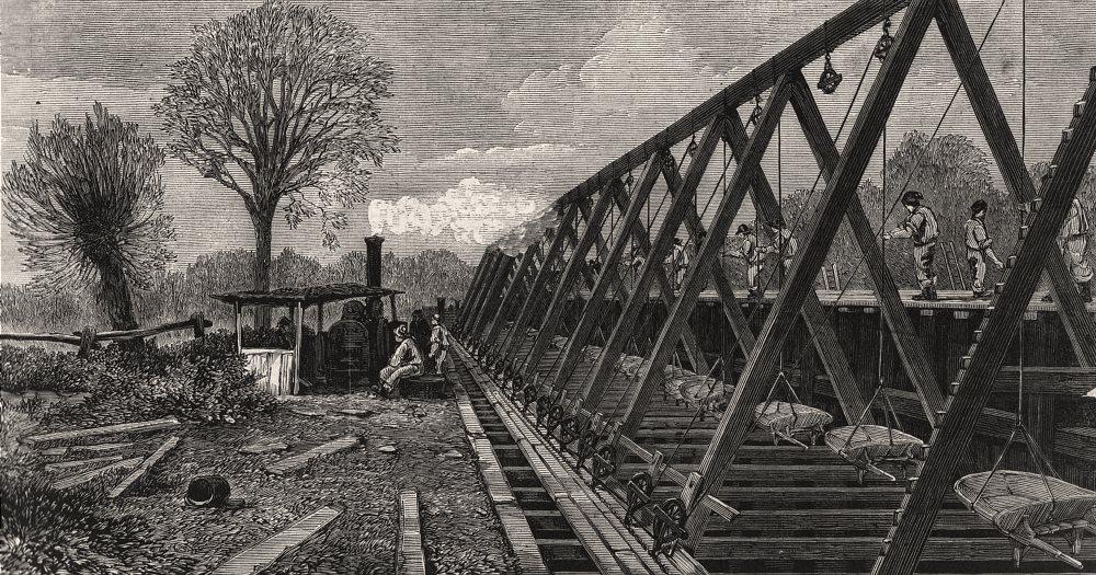 Associate Product London main drainage: Barrow-hoist, southern high-level sewer at Peckham, 1861