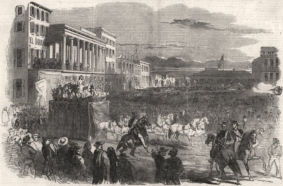 Associate Product Celebration of California becoming a US state, at San Francisco, old print, 1851