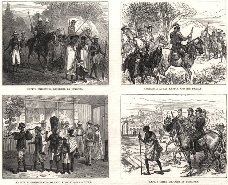 Associate Product Kaffir War: prisoners Fingoes King William's Town chief. South Africa, 1878