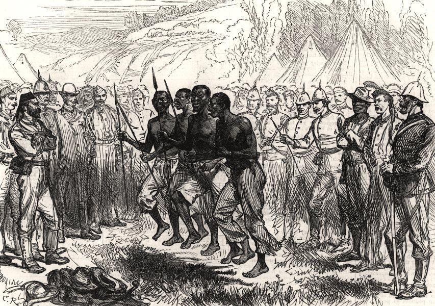 Associate Product Kaffir War: Fingoes dancing their war dance. South Africa, antique print, 1878