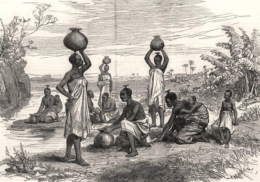 Associate Product Women of Mazaro, on the Zambesi, carrying water & babies. Africa, print, 1878