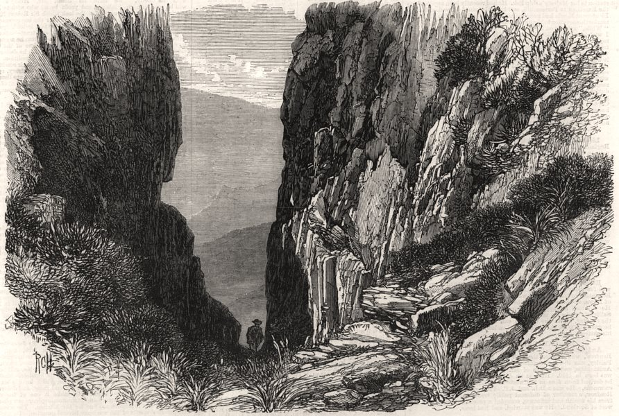 Associate Product Poort, Table Mountain, Cape of Good Hope. South Africa, antique print, 1868