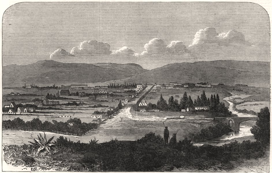 Associate Product Fort Beaufort, South Africa, antique print, 1869