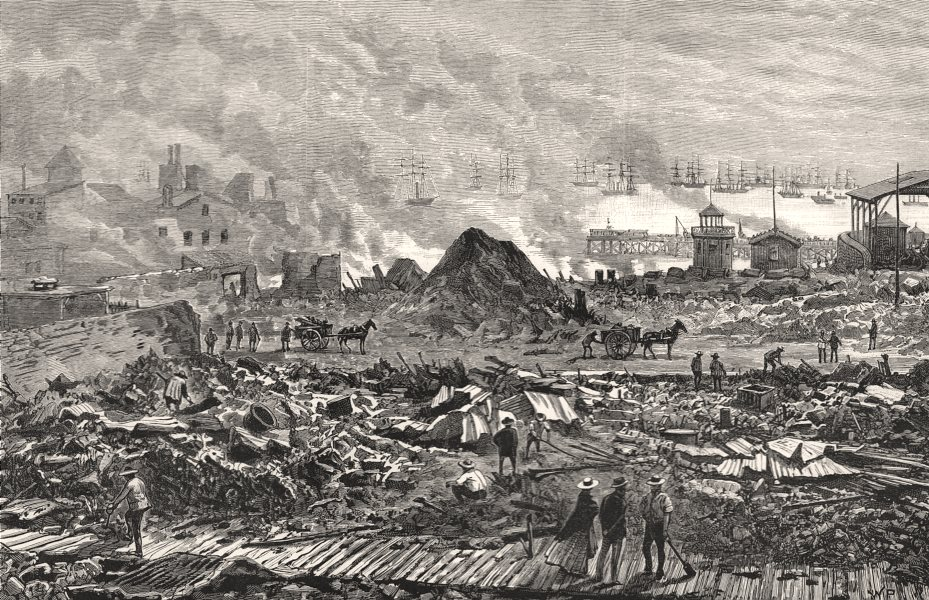 Associate Product The civil war in Chile: Iquique, after the bombardment, antique print, 1891