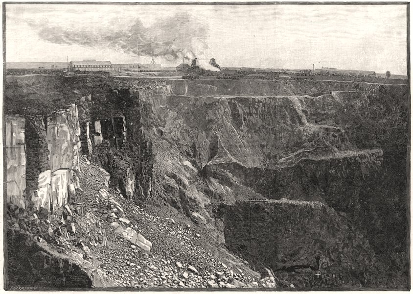 Associate Product The de Beers diamond mine, South Africa: open mine at 350 ft level, print, 1888