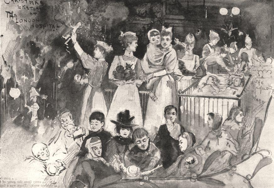 Associate Product Children's entertainment at the London Hospital, antique print, 1897