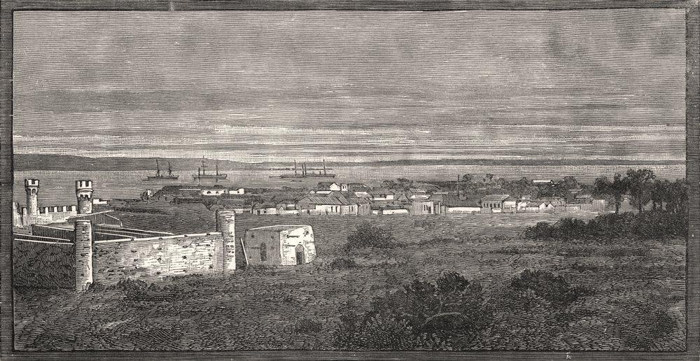 Associate Product Maputo (Lourenço Marques) : view from the Berea. Mozambique, antique print, 1888