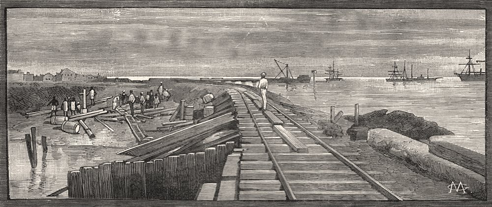 Associate Product Rail bridge over the sluice at Maputo (Lourenço Marques) . Mozambique, 1888