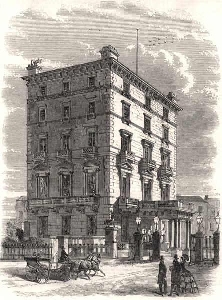 Associate Product The French Embassy, Albert Gate, Hyde Park. London, antique print, 1858