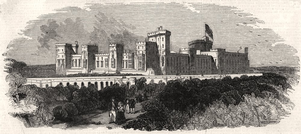 Associate Product The Slopes, Windsor Castle. Berkshire, antique print, 1844