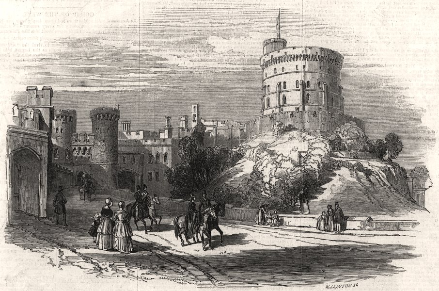 Associate Product Windsor Castle - the Round Tower. Berkshire, antique print, 1846