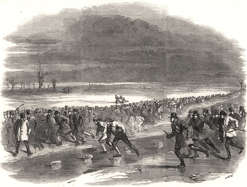 Associate Product Sports on the Ice - skating race on Whittlesey Wash. Cambridgeshire, print, 1850