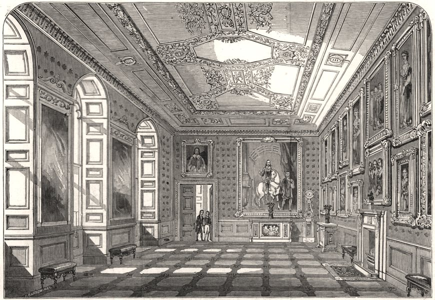 Associate Product Windsor Castle: State Apartments - the Vandyck room. Berkshire, old print, 1847