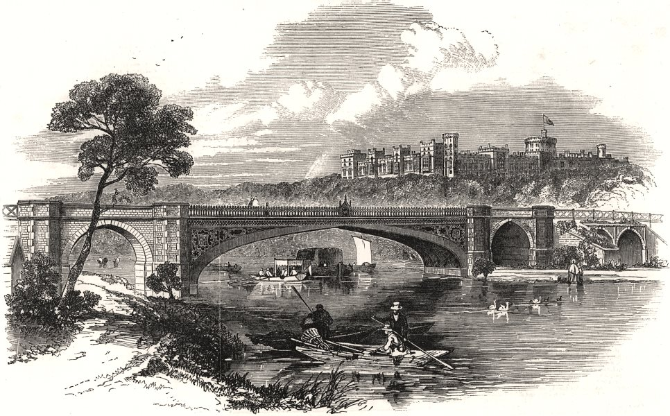 Associate Product Victoria Bridge, Windsor. Berkshire, antique print, 1851