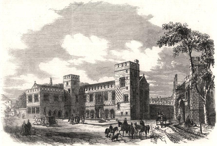 New school buildings at Eton College. Berkshire, antique print, 1862