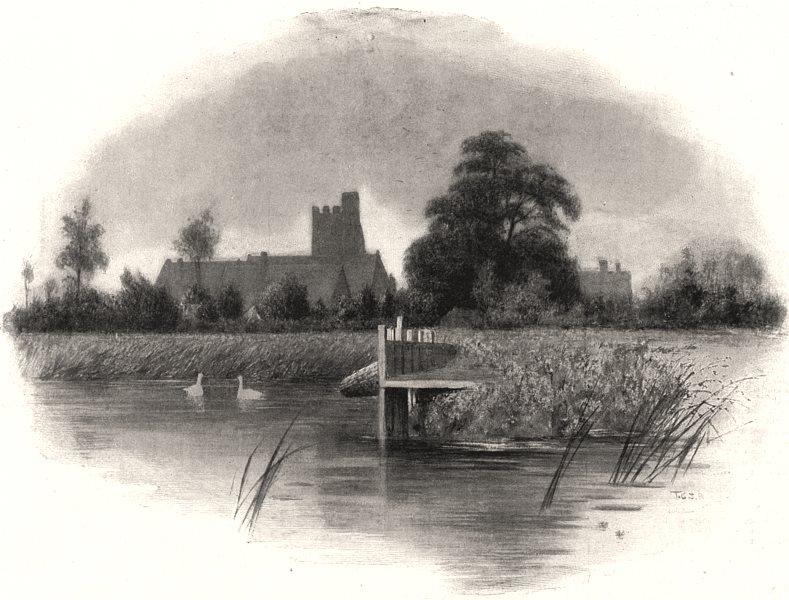 Associate Product Bray Church, near Maidenhead. Berkshire, antique print, 1898