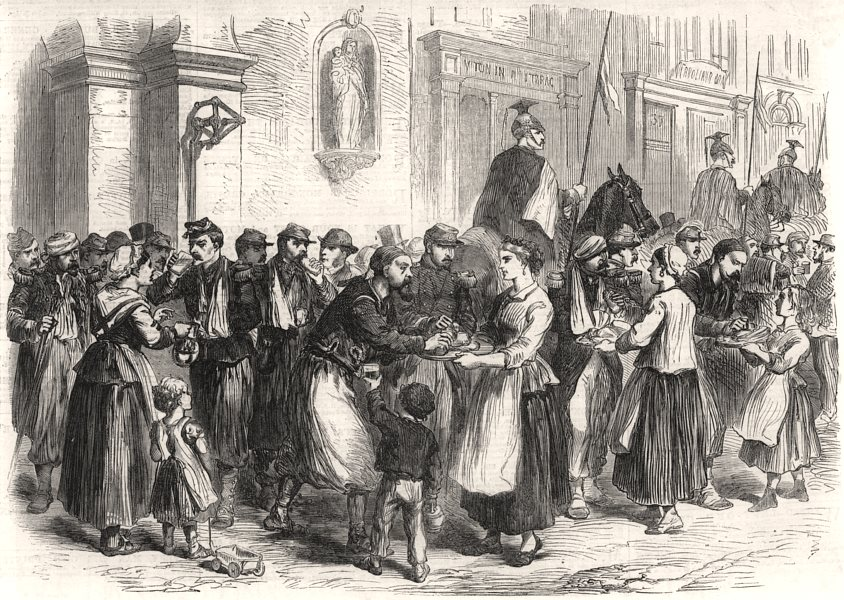 Associate Product The war: Belgian charity to French soldiers at Namur. Belgium, old print, 1870