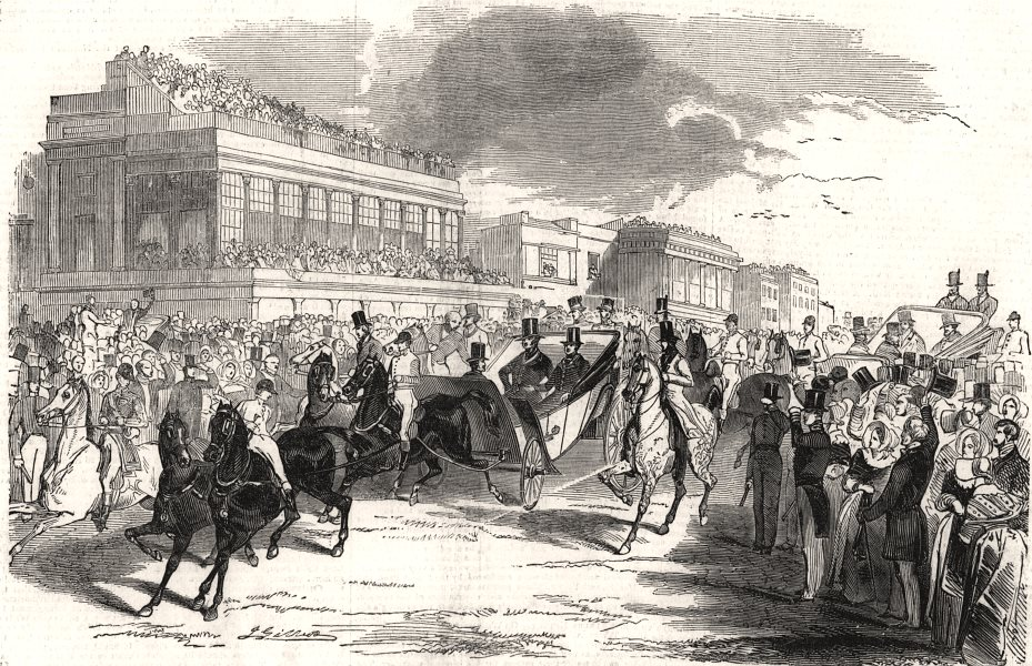 Associate Product Ascot races - arrival of the Illustrious visitors. Berkshire, old print, 1844