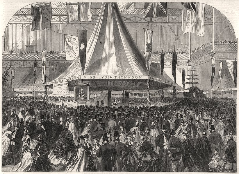 Associate Product The dramatic college fête at the Crystal Palace. London, antique print, 1863