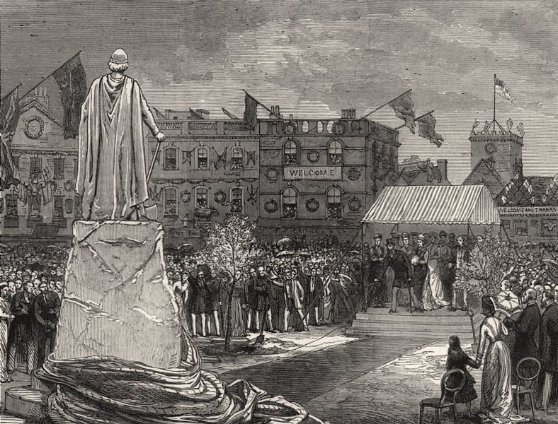 Associate Product Prince of Wales unveiling the Alfred the Great statue, Wantage, old print, 1877