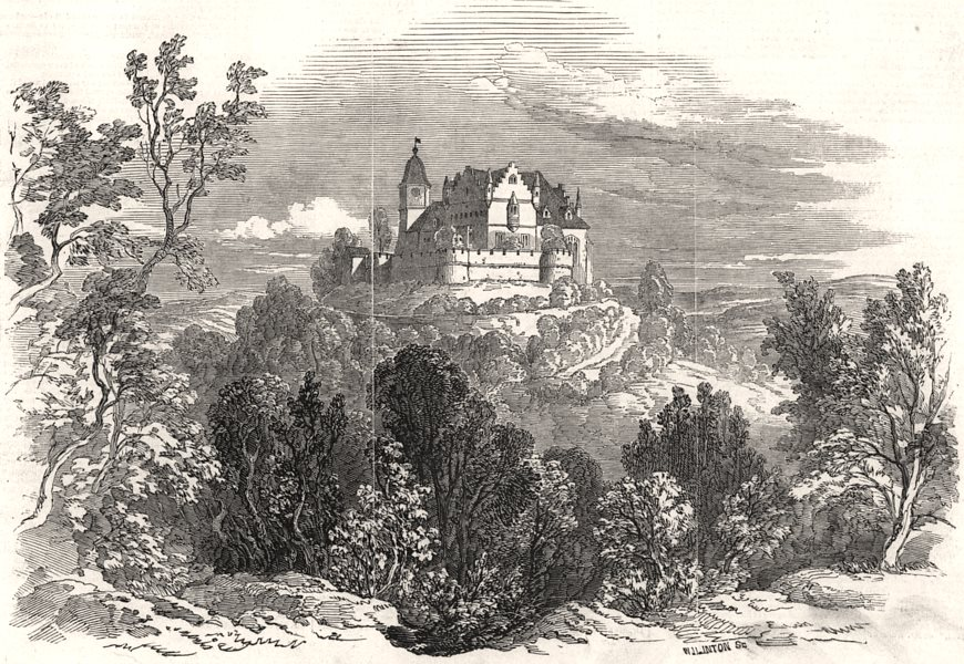 Associate Product Schloss Kalenberg, from HRH Prince Albert's drawing. Germany, old print, 1845