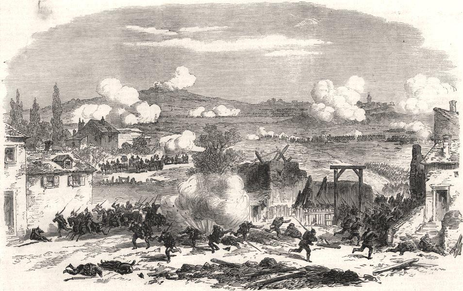 Associate Product The war: defence of Paris - battle at Villejuif, antique print, 1870