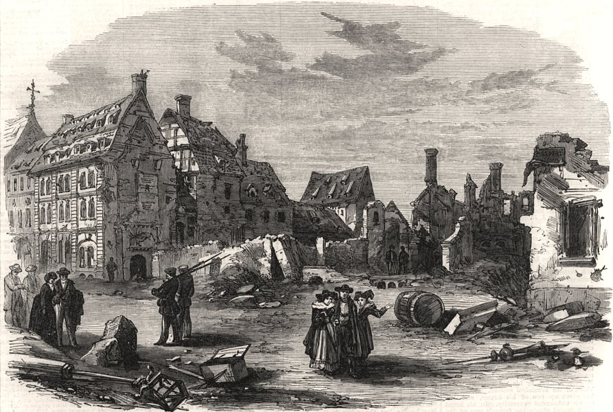 Associate Product Fall of Strasbourg. Ruined houses in the Rue du Faubourg des Pierres, 1870