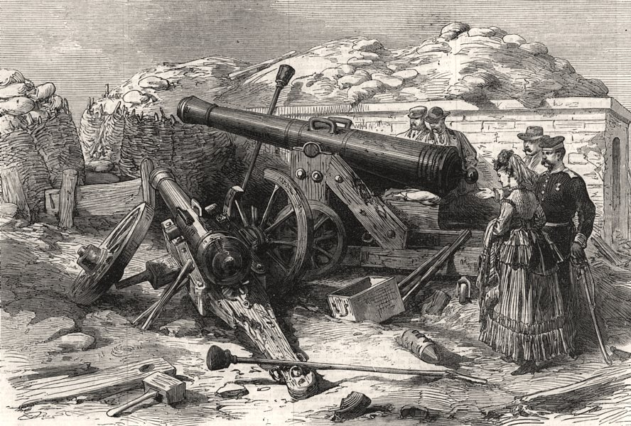 Associate Product The war: fall of Strasbourg - French guns in the fortifications. Bas-Rhin, 1870