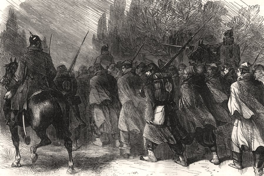 Associate Product The war: French prisoners on the road from Sedan. Ardennes, antique print, 1870