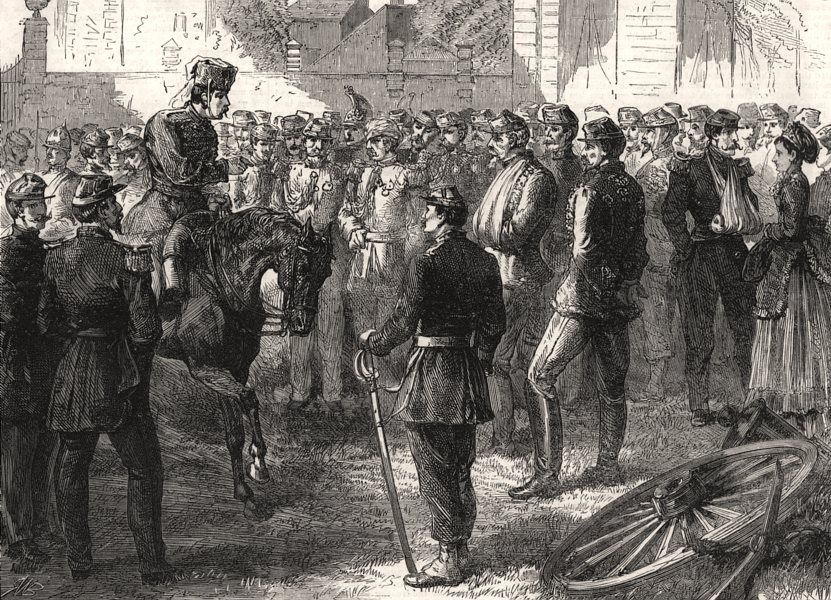 Associate Product Prussian officer receiving French officers surrendering at Sedan. Ardennes, 1870