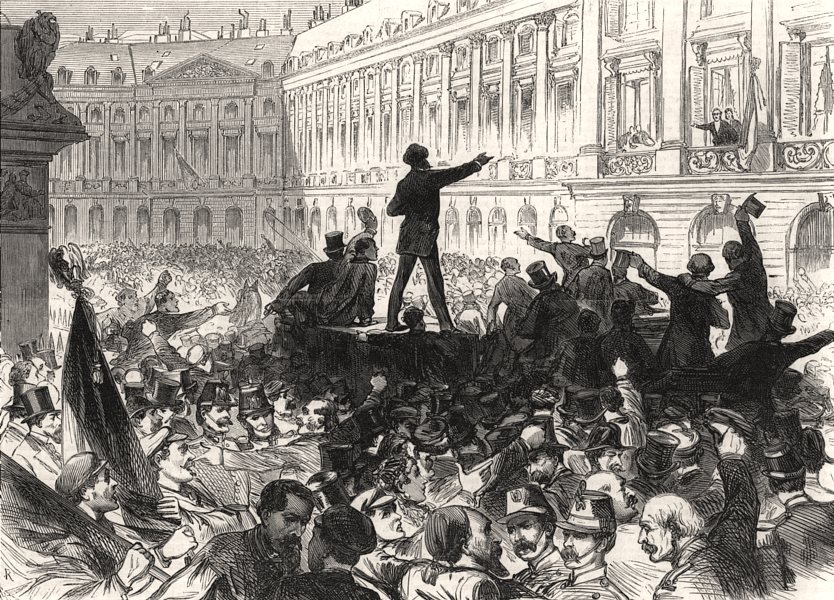 Associate Product The war: people demanding arms in the Place Vendome, at Paris, old print, 1870
