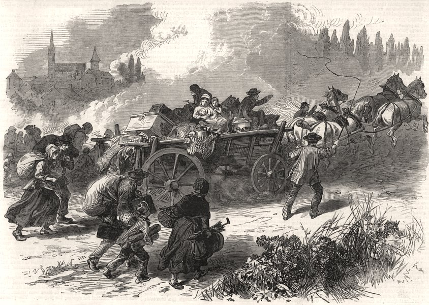 Associate Product The war: inhabitants of Forbach flying after the battle. Moselle, print, 1870