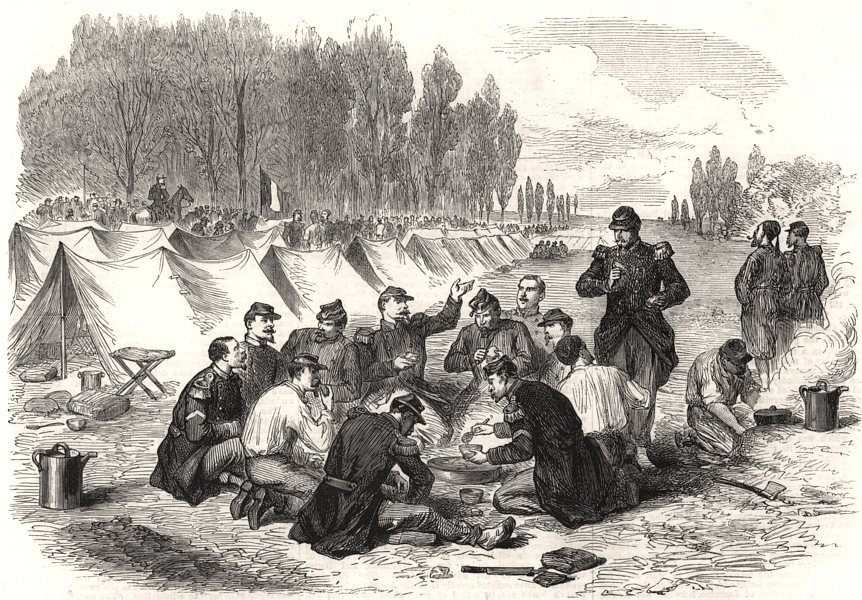 Associate Product The war: soldiers' mess in the French camp on The Moselle, antique print, 1870
