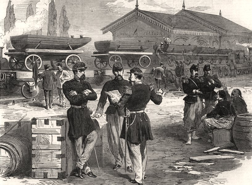 Associate Product The war: French military train of boats for pontoon bridges. France, print, 1870