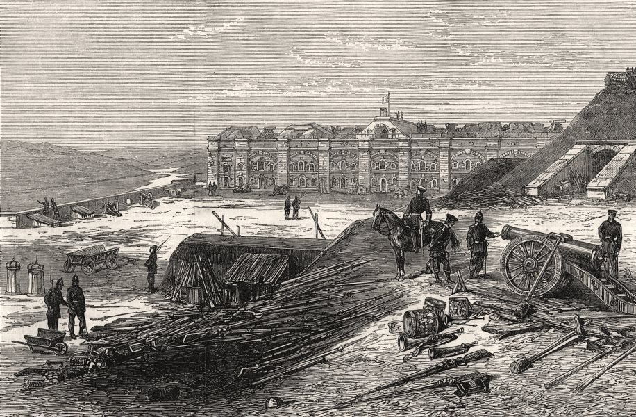 Associate Product The fall of Metz: interior of Fort St. Quentin. Moselle, antique print, 1870