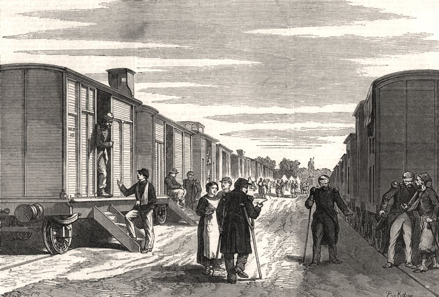 Associate Product Railway waggons used as hospitals. France, antique print, 1870