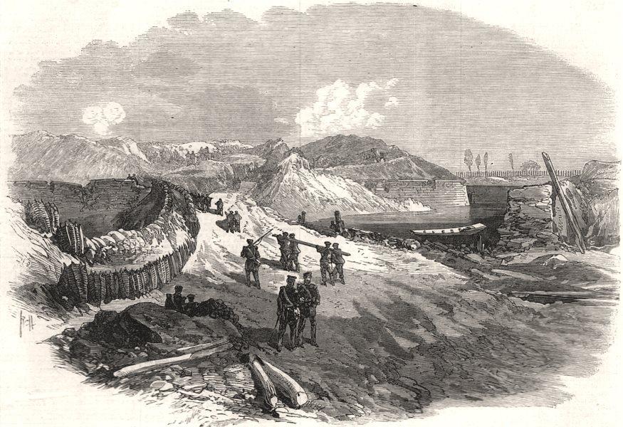 The war: siege of Strasbourg - Lunette captured by the Germans. Bas-Rhin, 1870