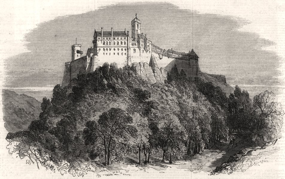 """Associate Product The castle of Wartburg, Germany, the """" Patmos """" of Luther, antique print, 1862"""