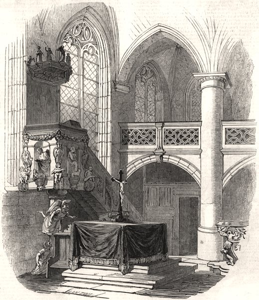 Associate Product Chapel at Kalenberg - from HRH Prince Albert's drawing. Germany, old print, 1845