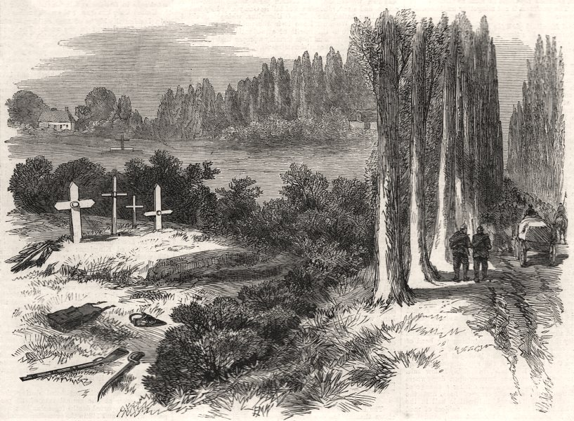 Associate Product The war: graves of German officers near Sedan. Ardennes, antique print, 1870