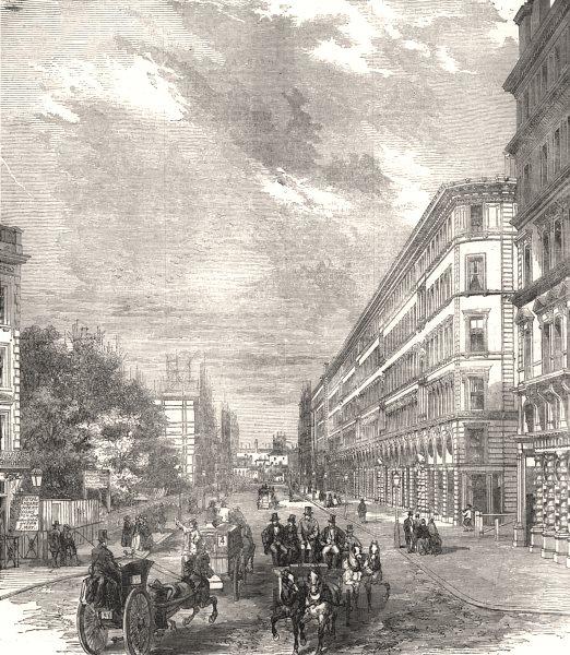Associate Product Victoria Street, Westminster. London, antique print, 1854