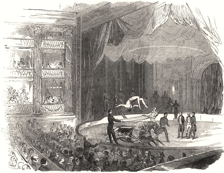 Associate Product Equestrians at Drury Lane Theatre. McCollum feat on 2 horses, old print, 1851