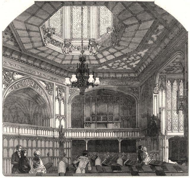 Associate Product The Chapel Royal, Windsor Castle. London, antique print, 1854